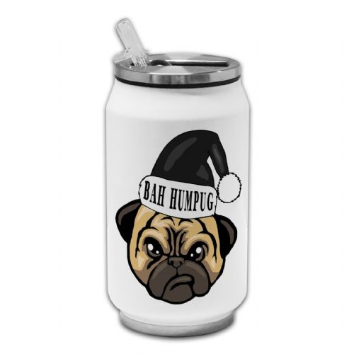 Bah Hum Pug Funny Grumpy Christmas Novelty Thermos Drinking Can